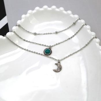 Bohemian jewelry new fashion pop jewelry moon three-layer multi-layer necklace 3