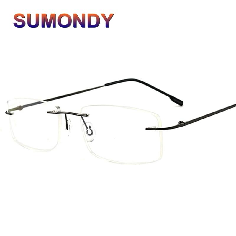 SUMONDY Men Women Elegant Rimless Glasses Frame Quality Ultralight Handsome Business Eyewear Frames Plain Glass Spectacles UF40