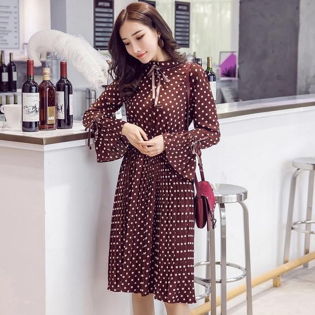 d2ade9a55a57 Spring summer women elegant printed dot chiffon dress office lady long  sleeve pleated dress elastic waist