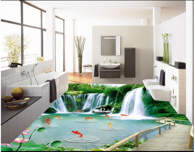 3d pvc plancher papier peint personnalisé étanche montagne cascades pont en bois 3d salle de bains plancher 3d mur peintures murales papier peint