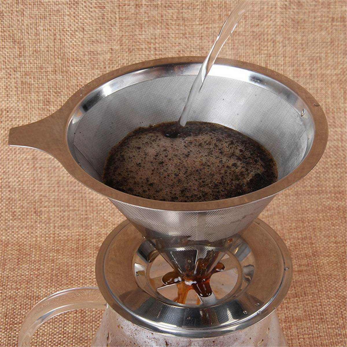 Cone Stainless Steel Coffee Mesh Filter Dripper Double Layer Paperless Home Kitchen Coffee Shop Coffee Making