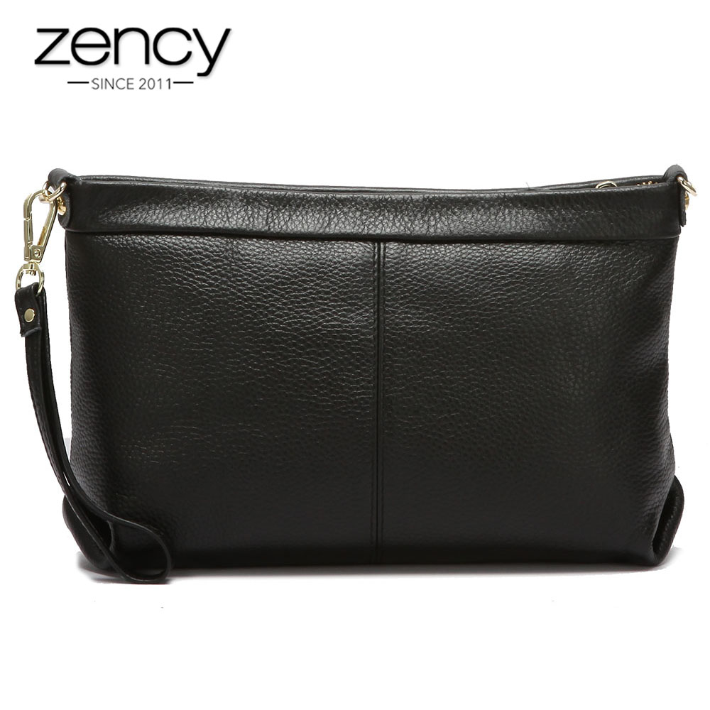 Aufstrebend Zency 100% Echtem Leder Mode Frauen Tag Kupplungen Tasche Klassische Schwarz Schulter Taschen Tote Geldbörse Hohe Qualität Dame Handtasche Elegant Im Stil
