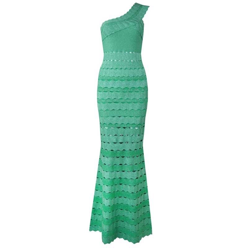 En gros nouvelle robe vert évider Asymmetrica femme vêtements mode Cocktail fête bandage robe (L2457)