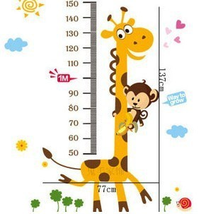 Free shipping Wall stickers child real The giraffe  cartoon wall covering height ruler sticker extra large