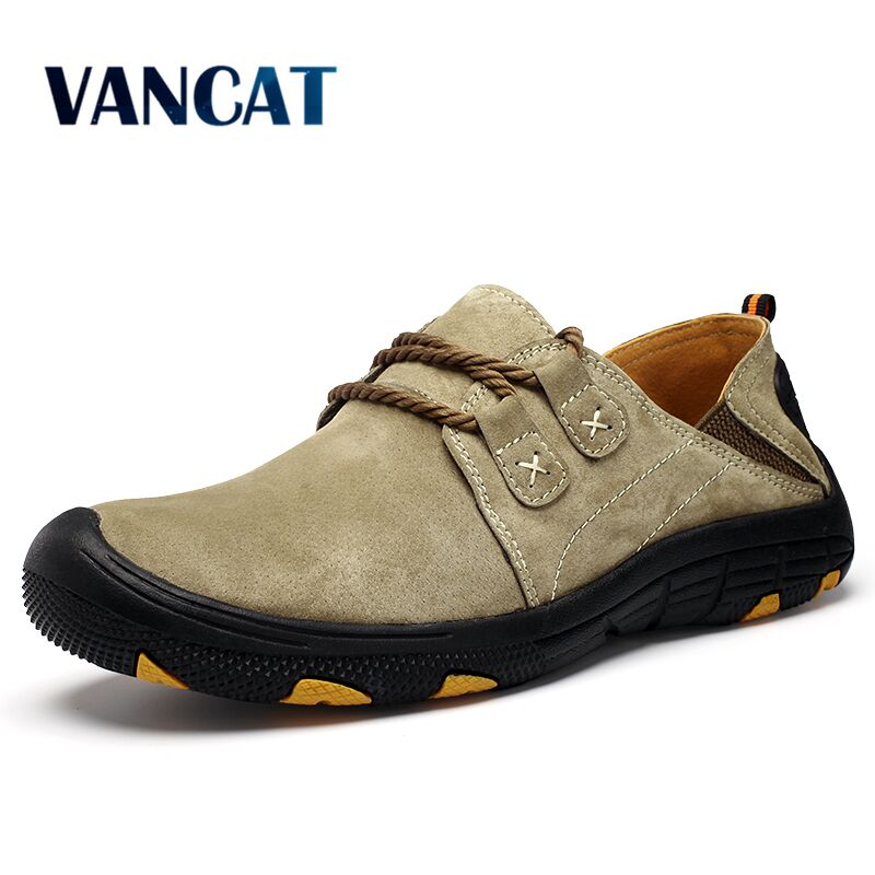 Vancat New Genuine   Leather   Casual Shoes Men Loafers   Suede   Men Shoes Breathable Outdoor Training Shoes Walking Zapatos sneakers