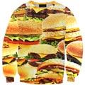 Sweatshirt 2017 New Women Hoodies Harajuku Style Sweatshirts3D Pullovers Burger fast food appetite fitness Sportswear Tracksuits