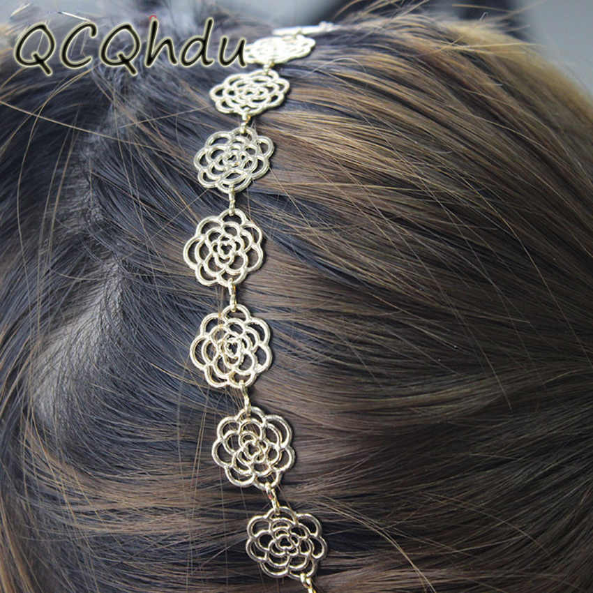 1PC Girls Womens Fashion Metal Chain Jewelry Hollow Rose Flower Elastic Headband Hair Band Headband Jewelry