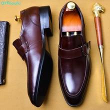 QYFCIOUFU 2019 Handmade Designer Vintage Fashion Party Buckle Formal Shoes Oxford Genuine Leather Mens Monk Dress EU 46