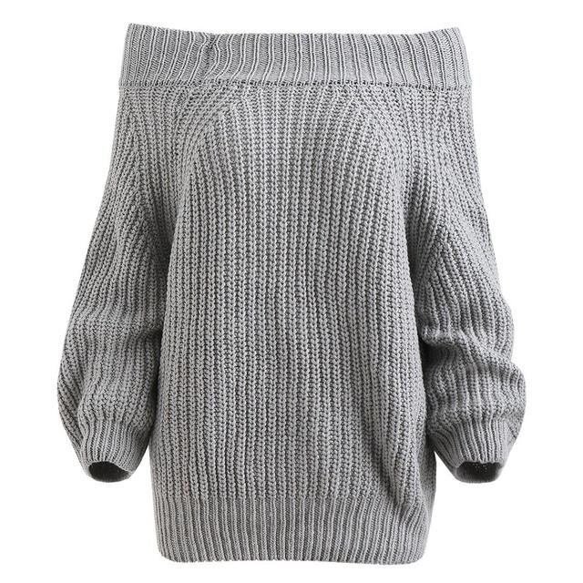 a95dea93ba Wipalo Slash Neck Off Shoulder Sexy Women Sweater Autumn Winter Solid Loose  Knit