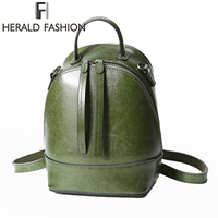 Herald Fashion Backpacks for Women Leather Genuine Leather School Bag for Teenage Girls Cow Leather Women Shoulder Bag
