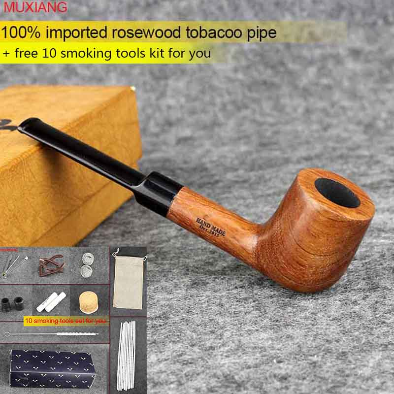 MUXIANG Imported kevazingo wood Tobacco Pipe Straight Stem with Acrylic Saddle Mouthpiece 9mm Filter Menchurchwarden Pipe ad0002 wood