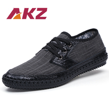 цена на AKZ Brand Men Casual shoes 2018 New Spring Summer Hemp Breathable High Quality soles soft Comfortable Male Brogus shoes 38-48