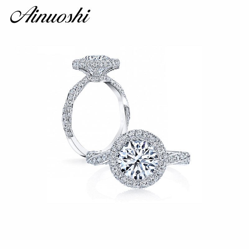 AINOUSHI Luxury Round 3 Carat Women Wedding Ring Genuine Solid 925 Sterling Silver Bijoux Halo Twist Engagement Wedding Ring