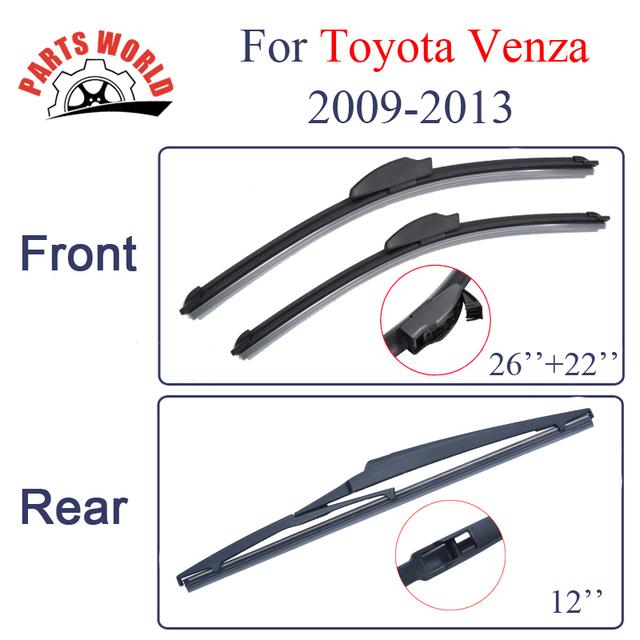 Combo silicone lâminas do limpador dianteiro e traseiro para toyota venza 2009-2013, borrachas brisas limpadores de carro acessórios do carro