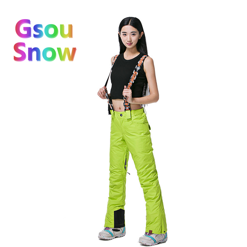 Gsou Snow Winter Outdoor Women's Skiing Sports Waterproof Ski Pants to Keep Warm Solid Color Harnesses Snowboarding Trousers top woman snow pants outdoor sports snowboarding ski pant 10k waterproof windproof thicken warm winter snow trousers gsou snow