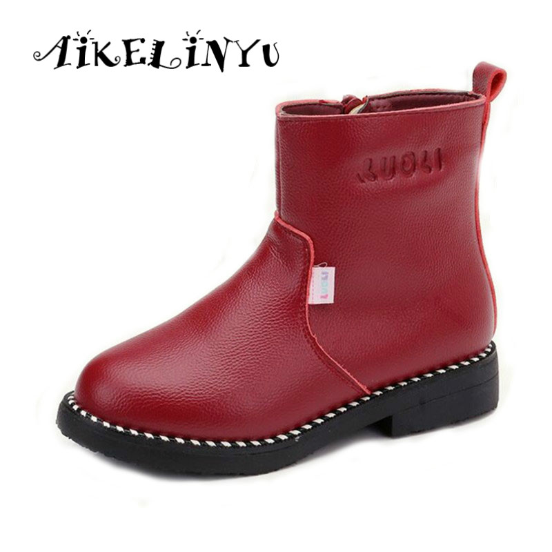 2019 Winter Shoes Kids Snow Boots Girl Genuine Leather Boots Warm Big Girl Martin Boots Children Simple Waterproof Boots 27 37