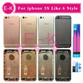 High quality For iphone 5 5G 5S Like 6 6G Style 6mini back Housing cover with buttons sim tray + Battery Stickers + Tools