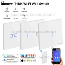 SONOFF kablosuz duvar dokunmatik ışıklı anahtar, yeni T1UK Wifi zamanlayıcı 1/2/3 Gang anahtarı cam Panel uygulaması/RF/ses uzaktan kumanda TX serisi