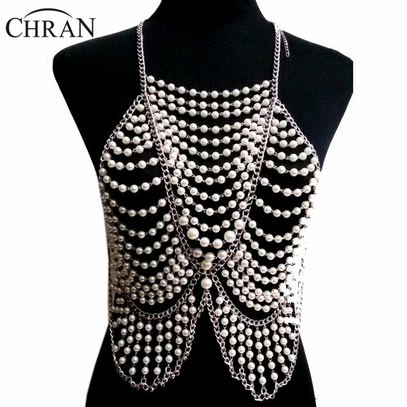 Chran Fashion Women Full Body Multi Layer Faux Pearl Statement Necklace Chain Slave Necklace Beach Chain Halter Jewelry BDC397 gold multi layer necklace sweater chain necklace