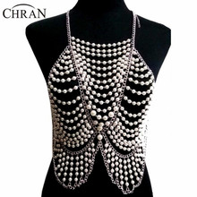Luxury Fashion Women Full Body Multi Layer Faux Pearl Statement Necklace Chain Slave Necklace Body Chain Halter Jewelry  BDC397 layered faux pearl body chain