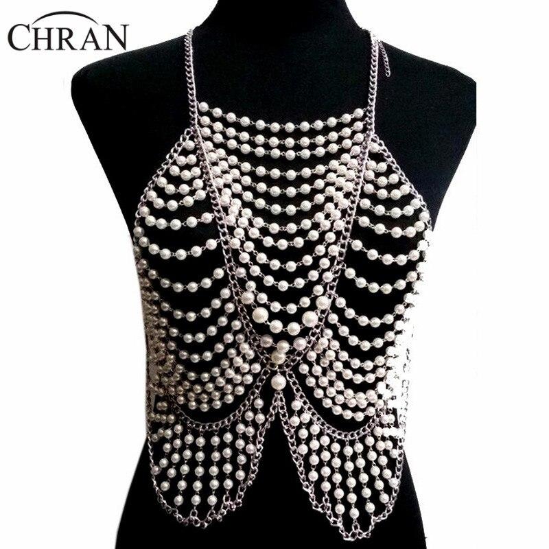Chran mode femmes corps complet Multi couche Faux perle déclaration collier chaîne esclave collier plage chaîne licou bijoux BDC397