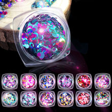 Elessical 12pcs  Holographic Stars Heart Design Nail Glitters Paillette Flakes Tinsel Nail Art Decorations Sequins For Manicure