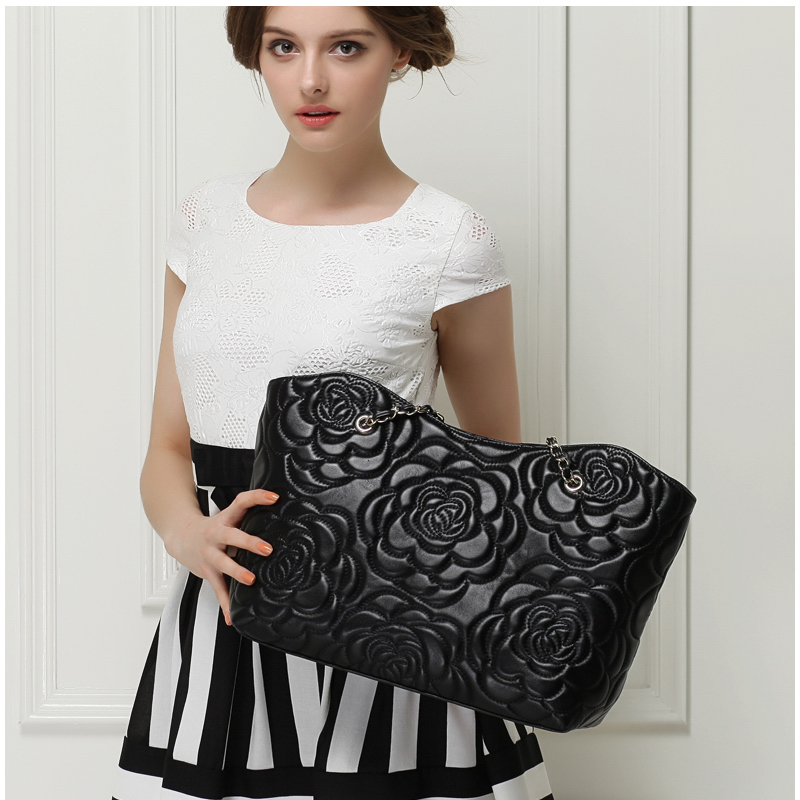 Casual Luxury Sheepskin Bags Genuine Leather Chain Flower bags Tote Big Bag Women Handbag Classic Brand High Quality Female Bags