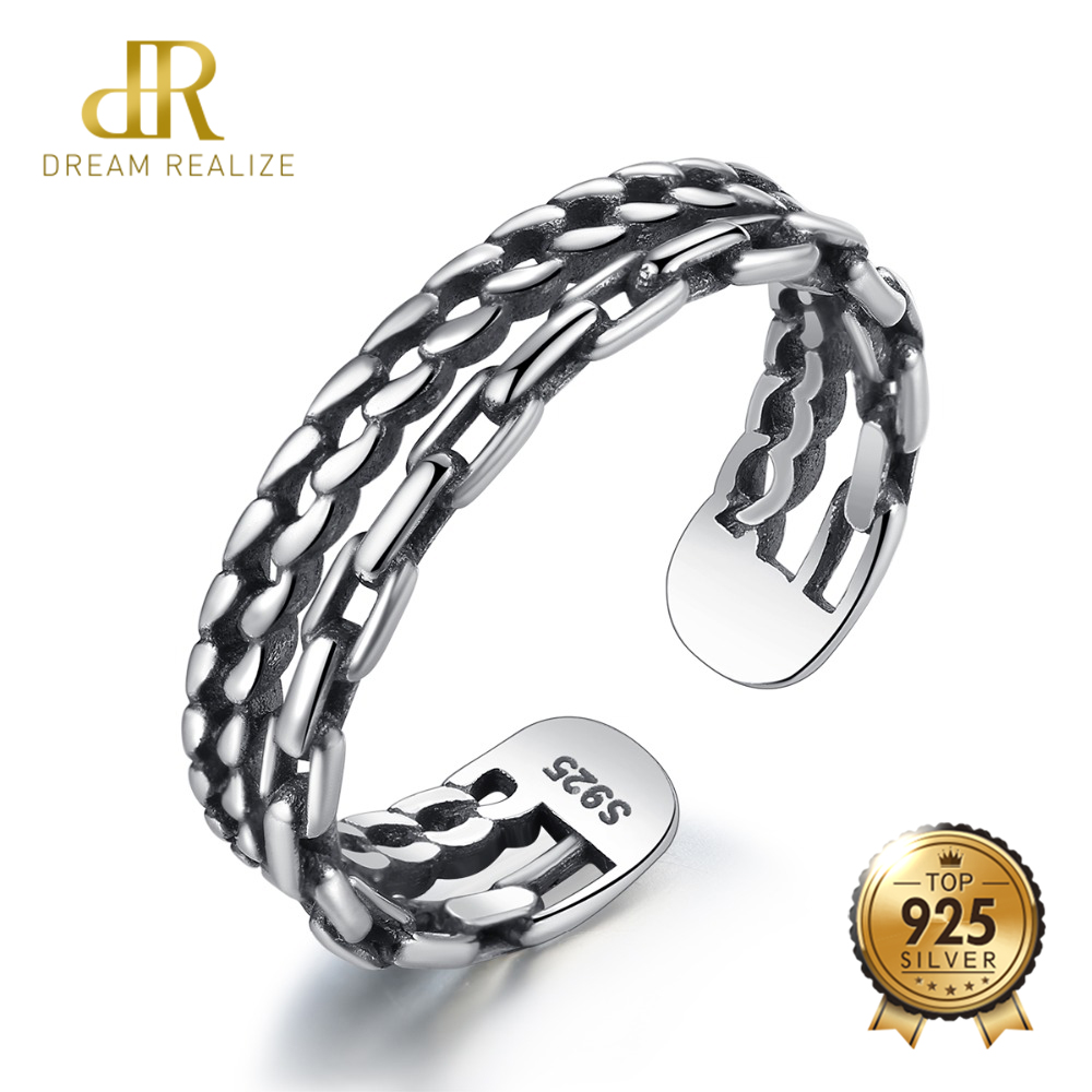 DR 100% 925 Sterling Silver Adjustable Rings For Women And Men Punk Double Chain Design Unusual Engagement And Wedding RingDR 100% 925 Sterling Silver Adjustable Rings For Women And Men Punk Double Chain Design Unusual Engagement And Wedding Ring