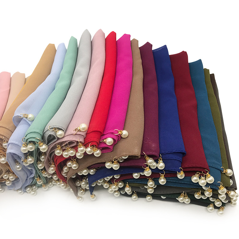 S41 10pcs High Quality Chiffon With Pearl Hijab Scarf Shawl Wrap Headband Women Scarf/scarves Can Choose Colors