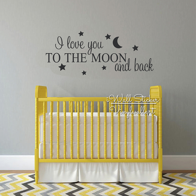 I Love You To The Moon And Back Quotes Wall Decal Kids Room Quote ...