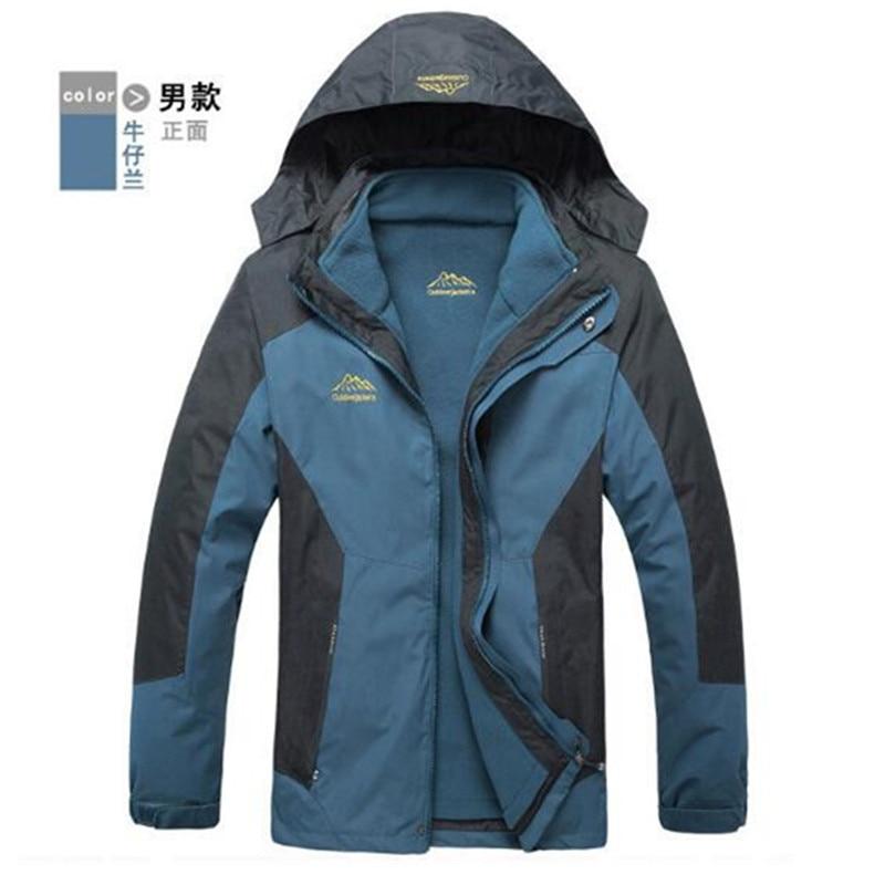 ФОТО Outdoor Waterproof Climbing Skiing Jacket Windbreaker Men Women Warm Breathable Windproof Sport Outdoor Coat 3 in 1 Warm Jacket
