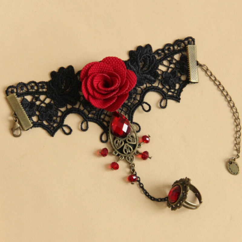 Vintage Lace Hollow Metal Bracelet New Fashion Red Rose Bead Bracelet Lace Red Rose Chic Gloves Floral Women Mittens