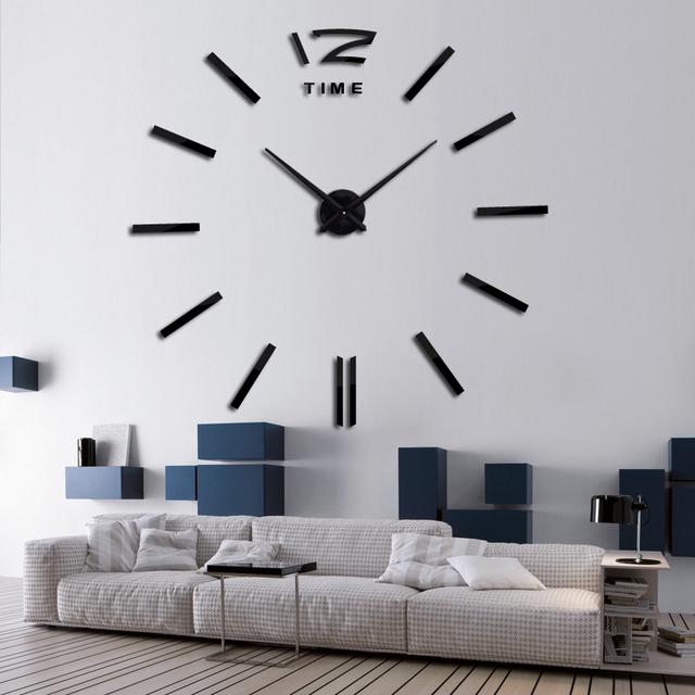 2016 new hot sale wall clock watch clocks 3d diy acrylic mirror stickers Living Room Quartz Needle Europe horloge free shipping