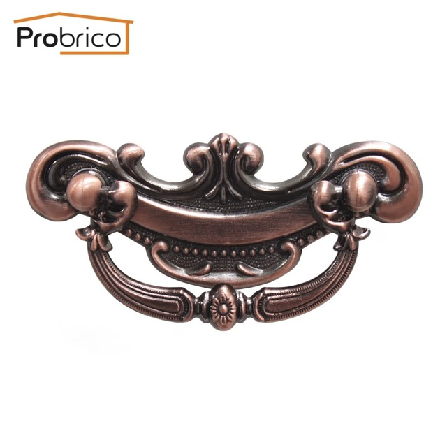 Probrico Wholesale 100 PCS Furniture Antique Drawer Handle Vintage Kitchen Cabinet Knob PD2102AC Zinc Alloy Copper Cupboard Pull