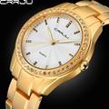 CRRJU Высокое Качество Аналогового Топ Фирменных Платье Часы Женщины Rhinestone Мода Часы Из Нержавеющей Стали Часы Дамы Подарок Золото Серебро