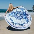 Wink Gal Soft Round Towel For Beach Cover Up White Tassels Bohemian Mandala Printed Crop Circle Cloak Beach Mat W10187