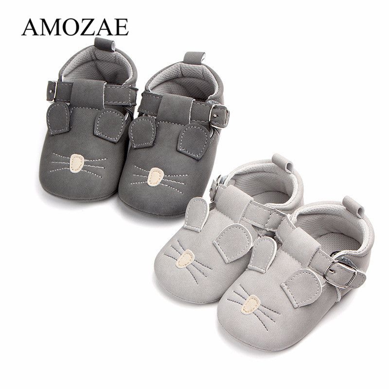 2019 New Animal Mouse Pattern Baby Shoes Soft Genuine Leather Baby Boys Girls Infant Toddler Cute Shoes Slippers First Walkers