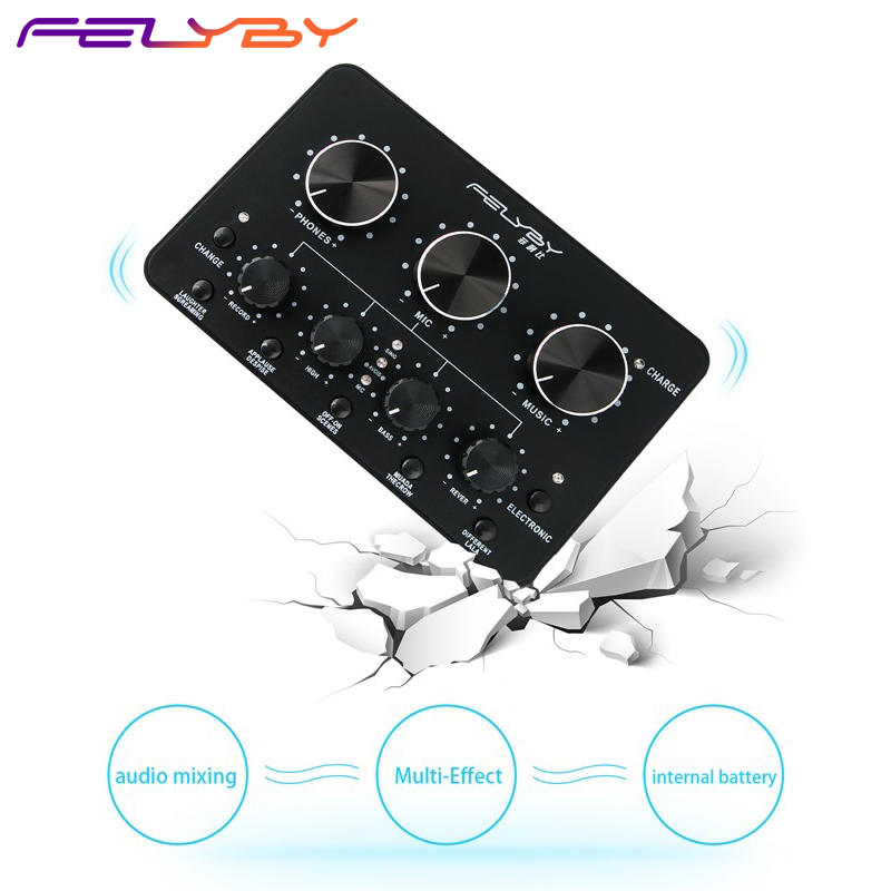 FELYBY sell like hot cakes Internet podcast essential multi function live sound card for cellular phone
