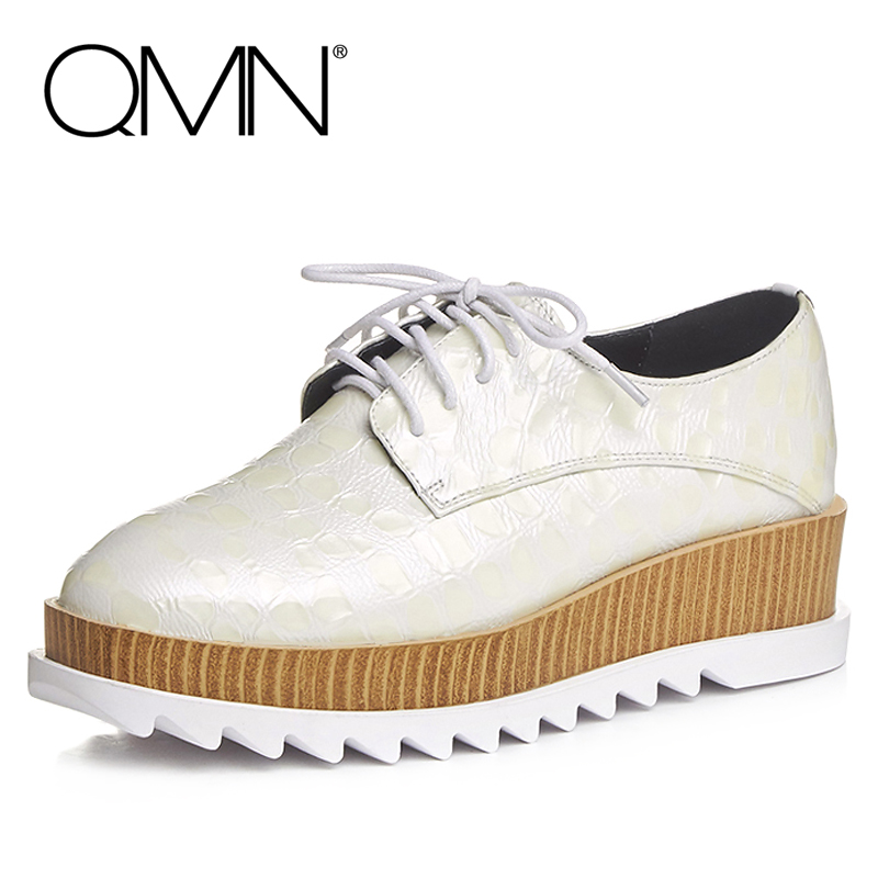 QMN women genuine leather flats Women Croc Embossed Cow Leather Oxfords Retro Square Toe Brogue Shoes Woman Platform Flats qmn women genuine leather platform flats women laser cut square toe brogue shoes woman oxfords women leather creepers 34 42