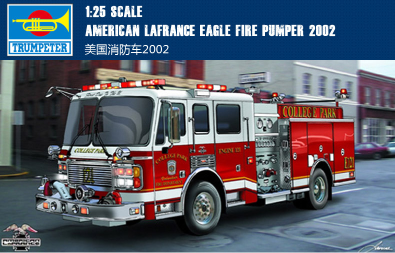 Assembly model Trumpet 1/25 American fire engine 2002 vehicle Toys trumpeter assembled model 1 25 u s truck model 2002 model 02506 military simulation fire engine model toys 36 66cm