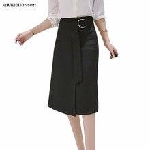Elegant Women High Waist Black Pencil Skirt With Belt Women Spring Summer Slit Ladies Office Wrap Skirts jupe crayon