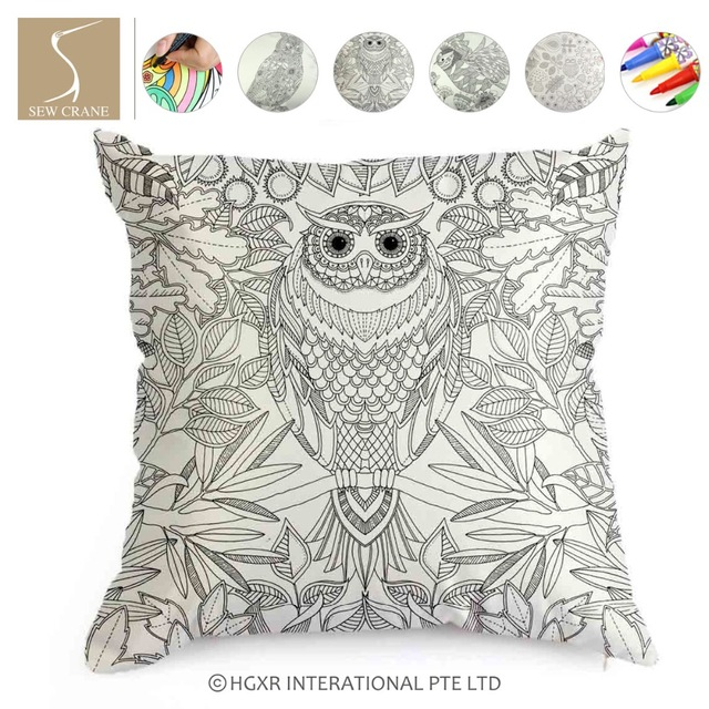 Owl Leaf Flowers Plants Creativity DIY Pillowcase Coloring Custhion ...
