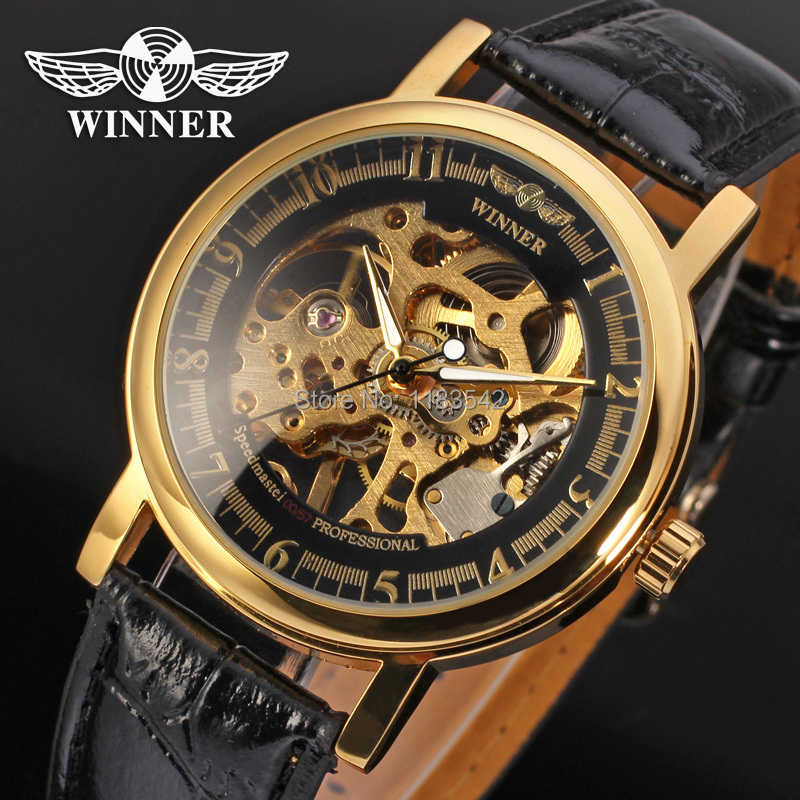 Winner watch mechanical watch for men black leather band free shipping WRG8001M3G1