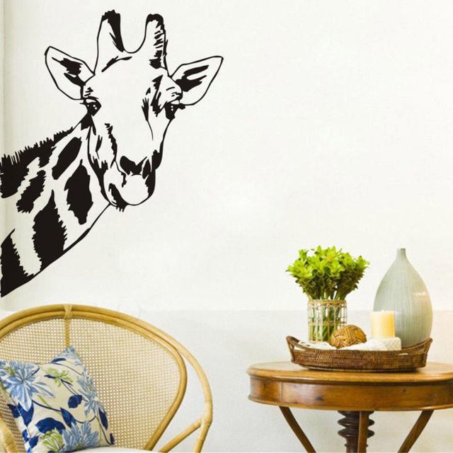 Lovely giraffe head wall stickers home decor living room baby nursery wall decals custom color vinyl