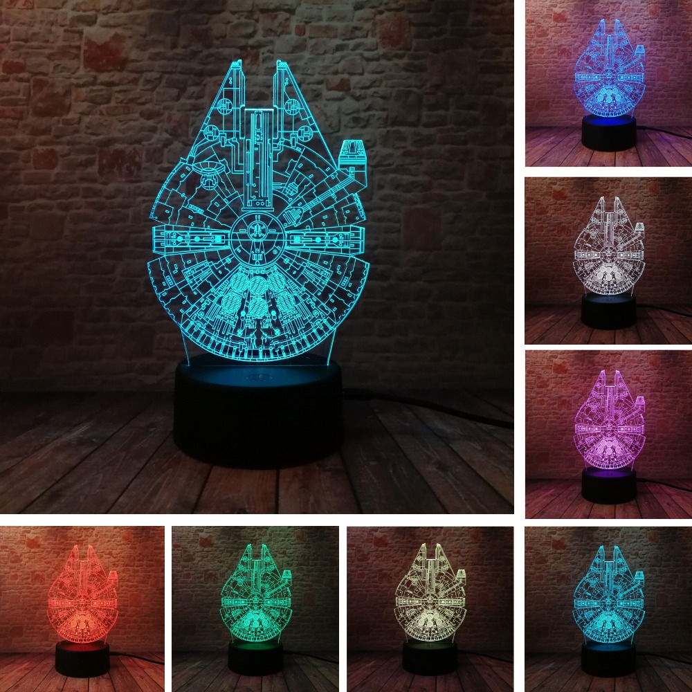Star Wars Legends Novelty Romskip 3D Nattlys Smart 7 Fargeendring LED-vifter Gutterom Borddekor Barn Xmas Leketøy gaver