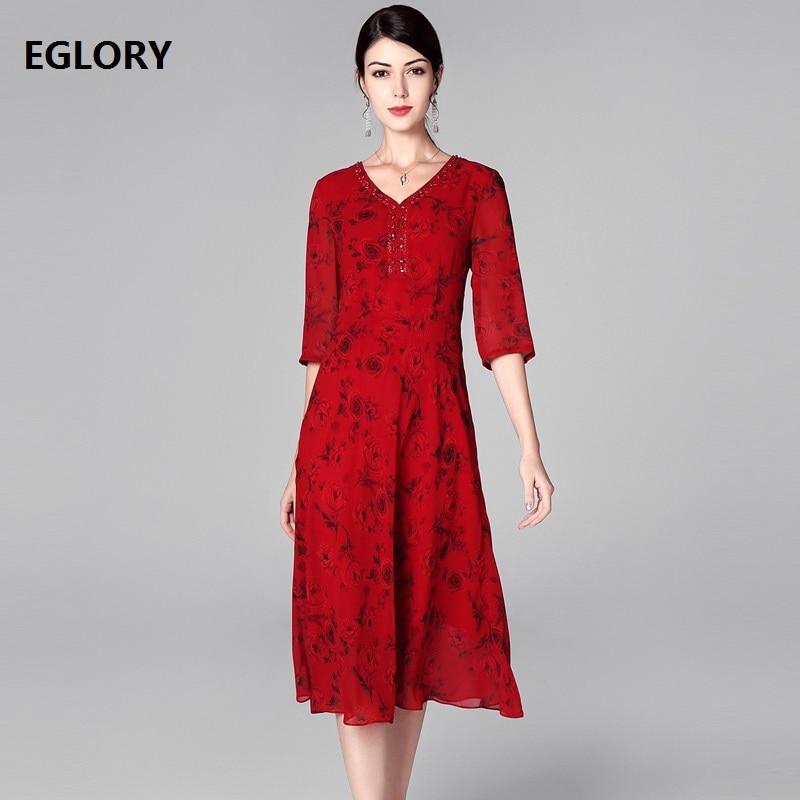 16ae3fb42a1 Новинка 1950 s стильное платье 2019 весна лето мода плюс размер платье  женщина v-образный вырез бисер с бриллиантом Роза цветочный узор миди плат.