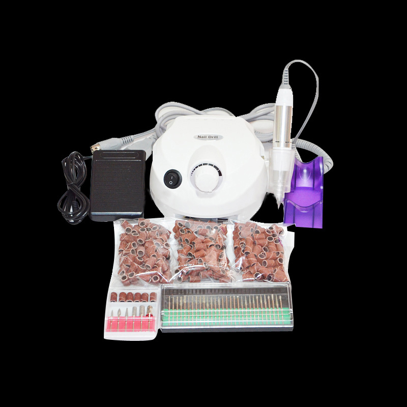 ФОТО 30000 RPM Pro NEW White Electric Nail Drill+300pcs Sanding bands+30pcs nail drill bit