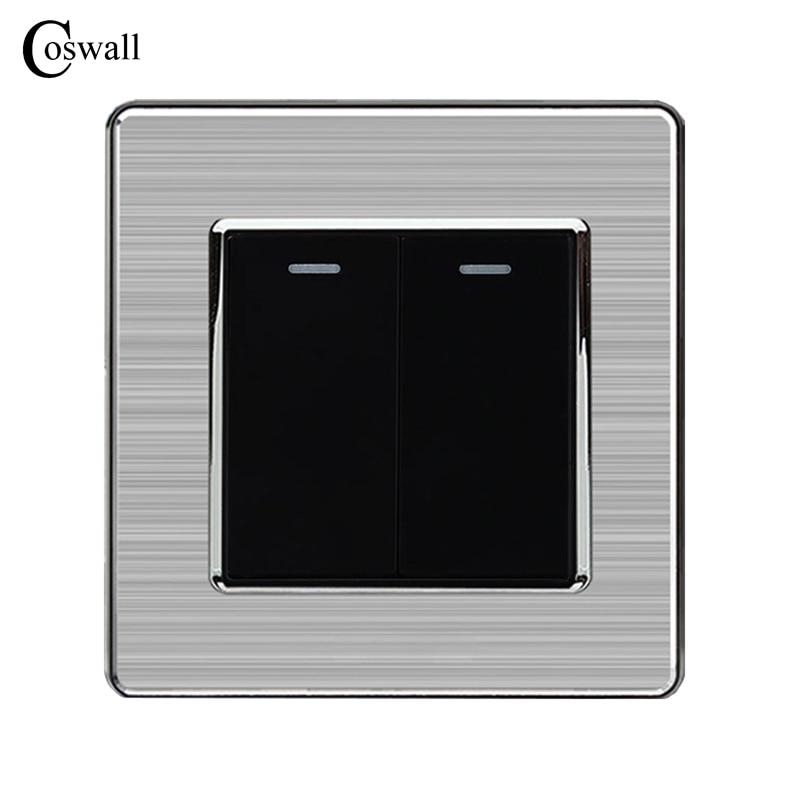 Coswall 2 Gang 1 Way Luxus Lichtschalter Taster Wand Schalter Interruptor Edelstahl Panel AC 110 ~ 250 V