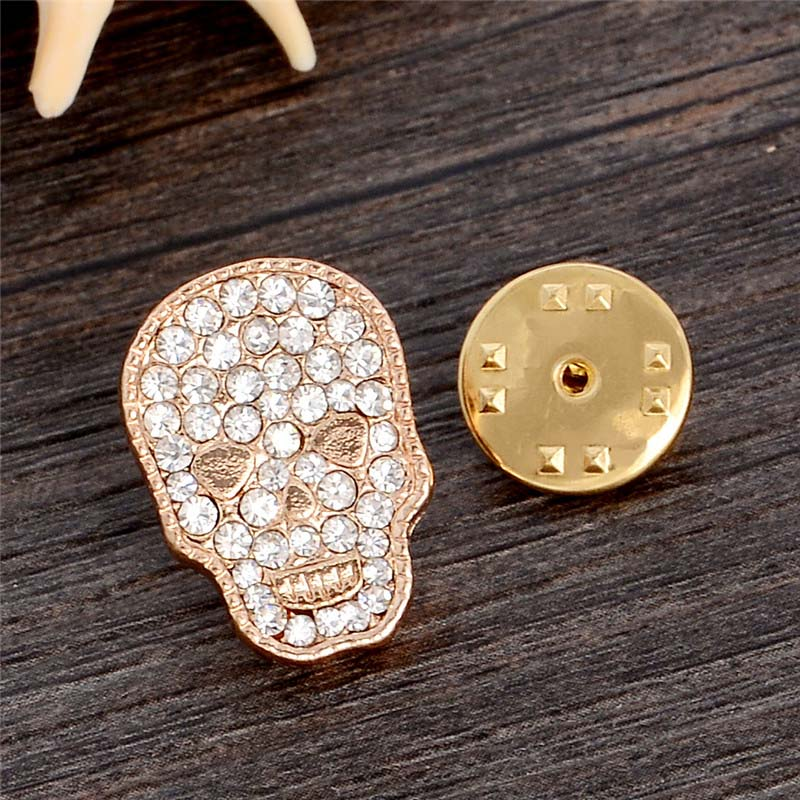 H:HYDE 1pc Fashion Full of Crystal Gold Color Skull Brooches for Women Men Rhinestone Clothes Scarf Hat Accessories Jewelry
