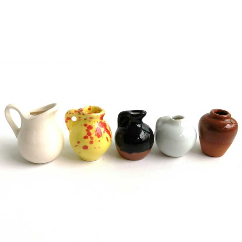 Micro Landscape Mini Pocket Decoration Ceramic Decoration Vase Handle Pot Flower Vase Pot Miniature Home Garden Craft Ornaments
